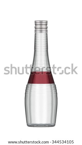 Soda water in glass bottle isolated on white background - stock photo