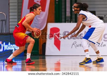 SODERTALJE, SWEDEN - NOV 21, 2015: Marta Xargay at the Women European Basketball Qualifier game between Sweden and Spain at Taljehallen. - stock photo