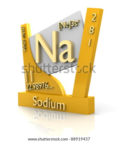 Sodium form Periodic Table of Elements - 3d made - stock photo