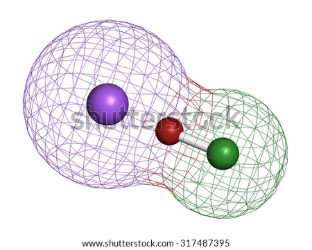 Sodium hypochlorite (NaOCl) molecule. Aqueous solution is known as (liquid) bleach. Atoms are represented as spheres with conventional color coding: chlorine (green), oxygen (red), sodium (purple). - stock photo