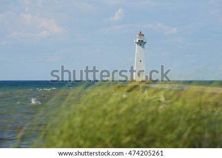 Sodus Outer Lighthouse on Lake Ontario with Marram Grass