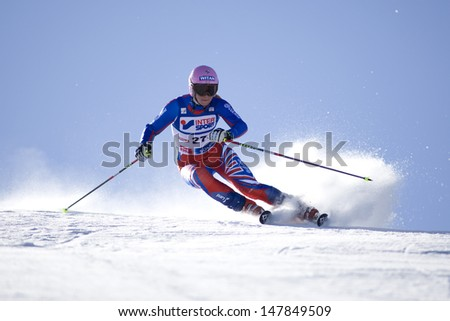 SOELDEN AUSTRIA OCT 25, Chemmy Alcott GBR  competing in the womens giant slalom race at the Rettenbach Glacier Soelden Austria, the opening race of the 2008/09 Audi FIS Alpine Ski World Cup - stock photo