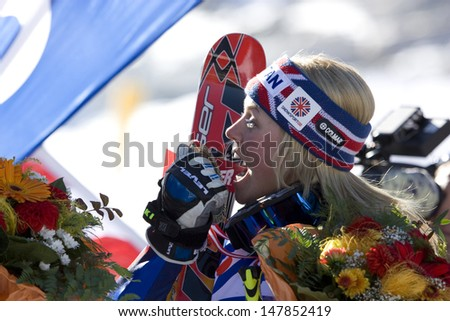 SOELDEN AUSTRIA OCT 25,  Chemmy Alcott with her medal at the womens giant slalom race at the Rettenbach Glacier Soelden Austria, the opening race of the 2008/09 Audi FIS Alpine Ski World Cup