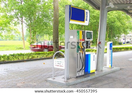 SOEST, NETHERLANDS - September 23. TinQ gas station along a traffic road in the forest on September 23, 2015 in Soest.