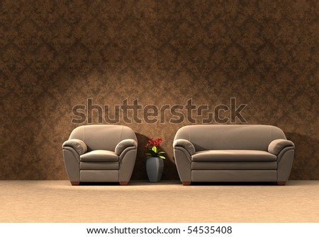 Sofa and chair with vase - Three dimension illustration