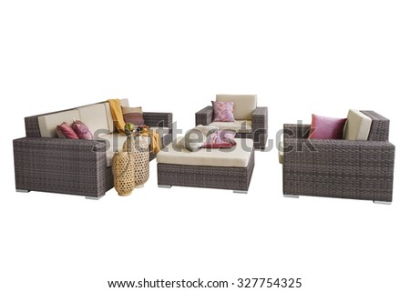 sofa and chairs with decor isolated on white background - stock photo