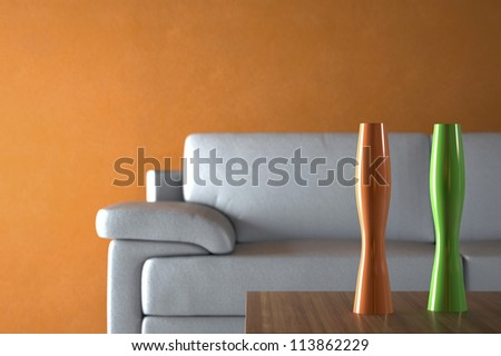 Sofa and Furniture against Orange Wall with depth of field - stock photo