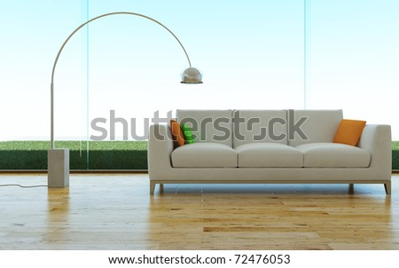 Sofa and lamp - stock photo