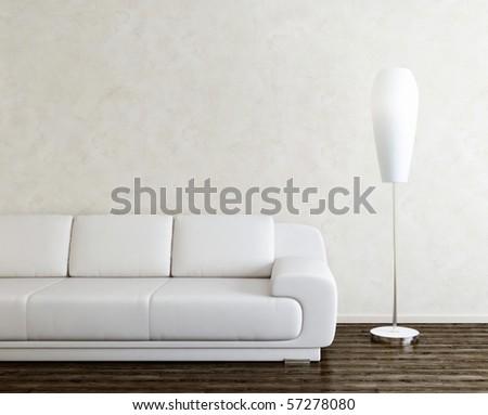 sofa and lamp in bright interior - stock photo