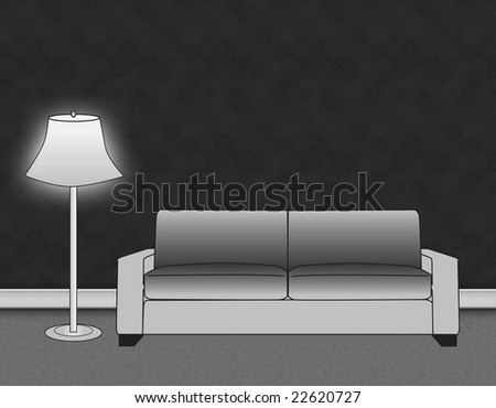 Sofa and lamp in living area with blank wall background