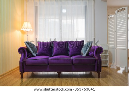 sofa and lamp on a living room