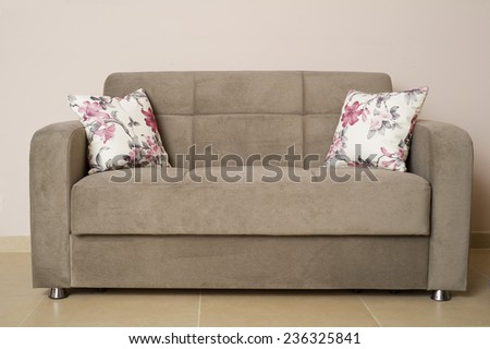 Sofa and Pillow furniture in a living room - stock photo