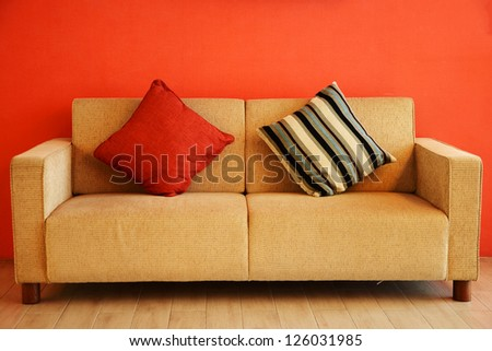 sofa and  pillows  furniture - stock photo