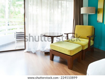 sofa bed relaxing time decorated in room corner - stock photo