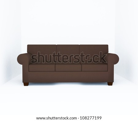 Sofa, Brown color furniture in the empty room