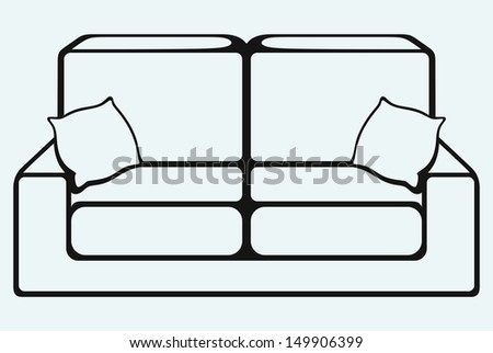 Sofa furniture isolated on blue background. Raster version - stock photo