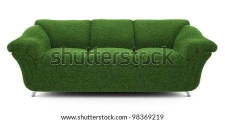 sofa grass - stock photo