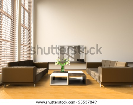 Sofa in a drawing room 3d image