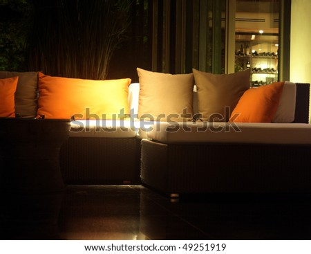 Sofa in a lobby of a luxury hotel - stock photo