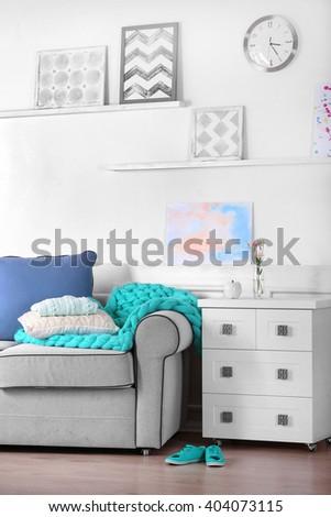 Sofa in living room - stock photo