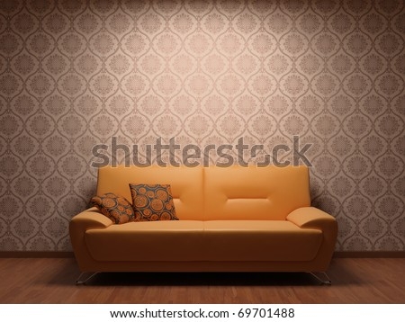 Sofa in rest room whit illuminated fabric wallpaper - stock photo