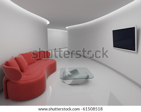Sofa in rest room with TV - stock photo