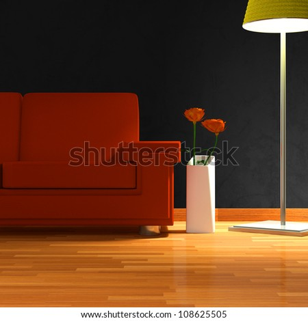 sofa �  isolated in a room with one lamp
