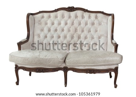 Sofa put on white isolated background, included clipping part.