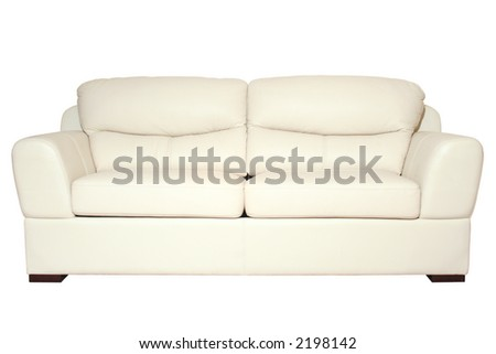 Sofa white detail isolated on white background with path - stock photo