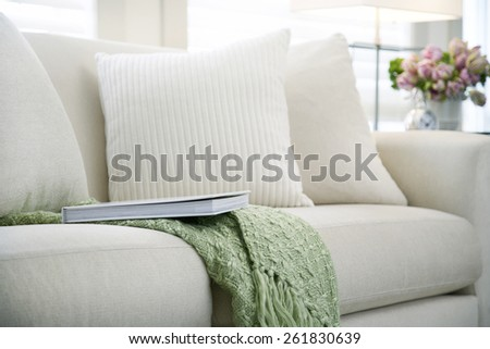 sofa with a book