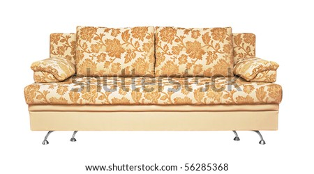 Sofa with fabric upholstery isolated on white background - stock photo