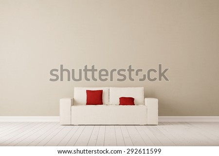 Sofa with pillows in front of wall in a living room (3D Rendering) - stock photo