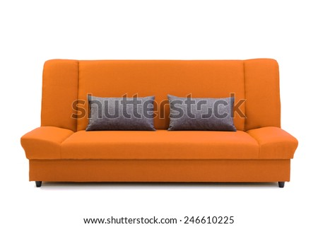 sofa with pillows, isolated on white. 3d Illustration of a Modern Sofa - stock photo