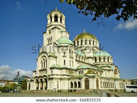Sofia, Bulgaria - Alexander Newski cathedral - aka Hram Aleksandar Nevski - stock photo