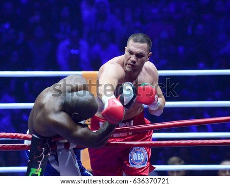 Sofia,Bulgaria - April 28, 2017: Kubrat Pulev  defend his  Intercontinental Heavyweight Championship against former World title challenger Kevin Johnson