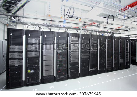 Sofia, Bulgaria - April 29, 2015: Representatives of the media and citizens are invited to see the latest generation of servers installed in one of the largest business centers of the capital Sofia. - stock photo