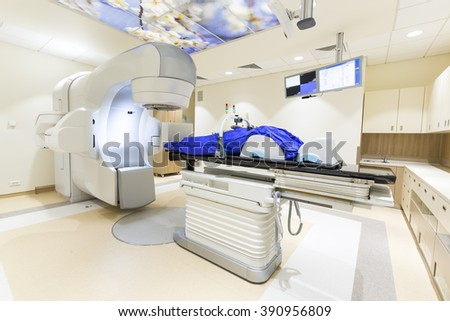 Sofia. Bulgaria - December 16, 2015: A radiation therapy for patients with caner. Modern cancer treatment in a new hospital.
