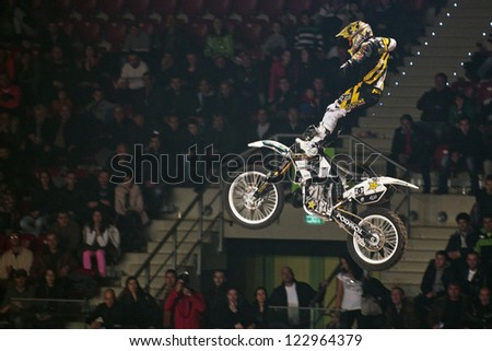 SOFIA, BULGARIA - DECEMBER 15 : Libor Podmol CZE  performs trick during the 2012 FIM Mx Freestyle World Championship on December 15, 2012 in Sofia, Bulgaria.
