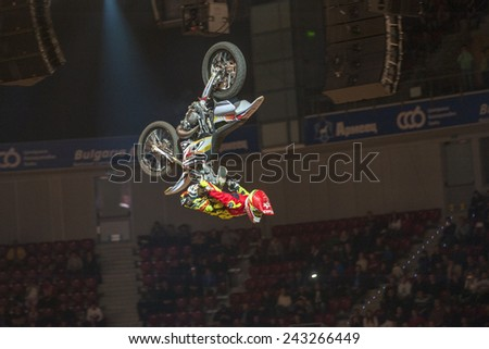 Sofia, Bulgaria - January 10 : Maikel Melero ESP performs trick during the 2015 FIM Mx Freestyle World Championship on January 10, 2015 in Sofia, Bulgaria. - stock photo