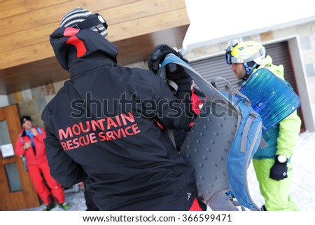 Sofia, Bulgaria - January 21, 2016: Rescuers from Mountain Rescue Service at Bulgarian Red Cross are preparing for a rescue mission in Vitosha mountain.
