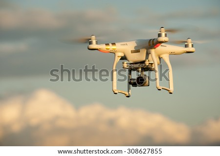 SOFIA, BULGARIA - JULY 03, 2015:Image of the phantom 3 professional quadcopter which shoots 4k video and 12mp still images on the July 03, 2015 ,Sofia, Bulgaria.