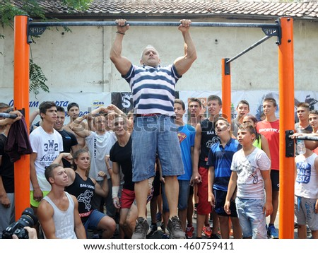Sofia, Bulgaria - July 30, 2016: The World champion Yordan Yovchev training on the street before  Rio 2016 Olympics
