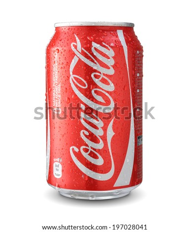 SOFIA, BULGARIA - JUNE 06, 2014: Cola Cola can with water drops isolated on white. - stock photo