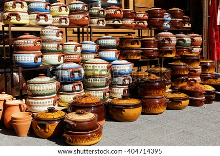SOFIA, BULGARIA - MARCH 5, 2016: Assortment of ceramic pots at the Women's market. Also known as Zhensky pazar, it is the largest and busiest market in the city - stock photo