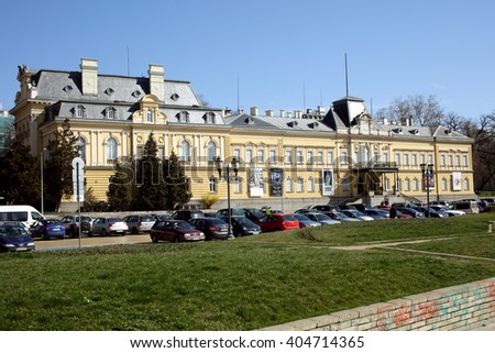 SOFIA, BULGARIA - MARCH 5, 2016: View to the building of National Art Gallery. The Sofia Palace was built in 1882 and then enlarged in 1894-1896 - stock photo
