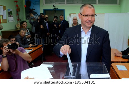 SOFIA, BULGARIA - MAY 25 Sergei Stanishev, leader of the Bulgarian Socialist Party and president of the Party of the European Socialists, casts his vote during the European Parliament elections in Sofia May 25, 2014