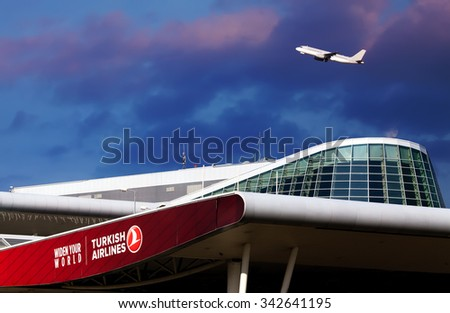 SOFIA, BULGARIA - NOVEMBER 23, 2015. Turkish Airlines office and plane take-off from the runway of Sofia Airport  - stock photo