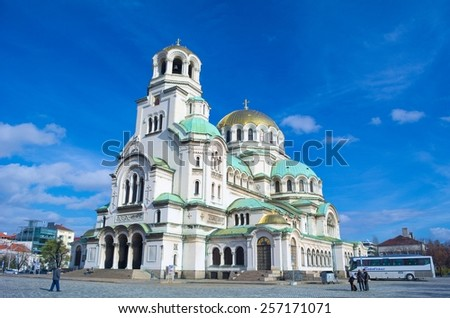 SOFIA, BULGARIA, NOVEMBER 16, 2014: View over the most famous monument in Sofia - Alexandr Nevski cathedral.