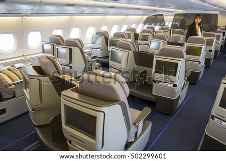 Sofia, Bulgaria - October 16, 2016: The inside of Lufthansa Airbus A380 airplane. The Airbus A380 is a double-deck, wide-body, four-engine jet airliner