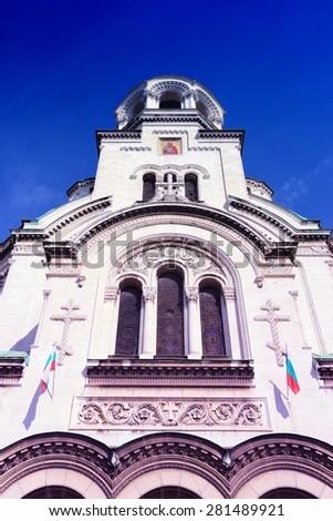 Sofia, Bulgaria - Orthodox Cathedral. Filtered retro style. - stock photo